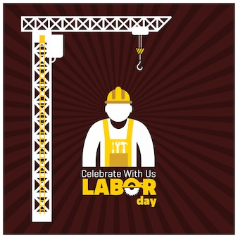 Worker and construction crane on red background