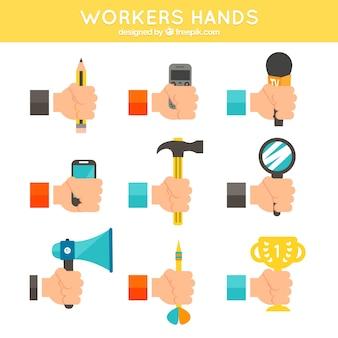 Worker hands