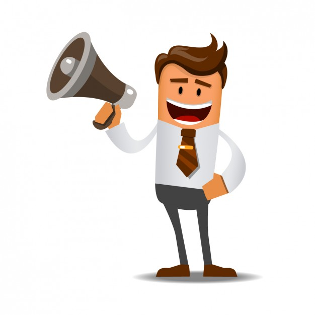 Worker with a megaphone