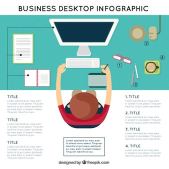 Workplace infography in a top view