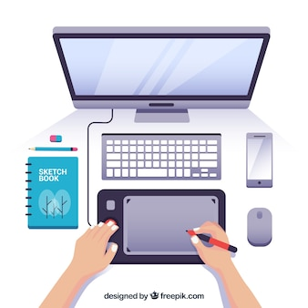 Workspace with computer and tablet