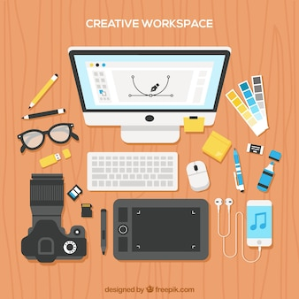 Workspace with photographer elements