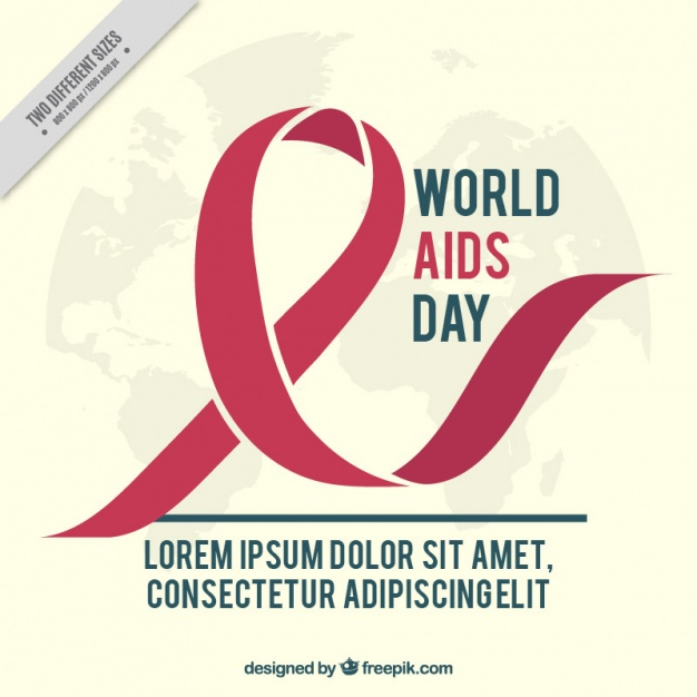 World aids day background with red ribbon and world map