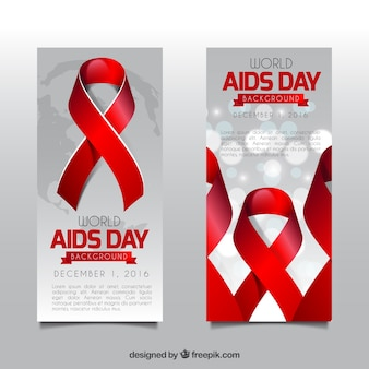 World aids day red ribbon banners