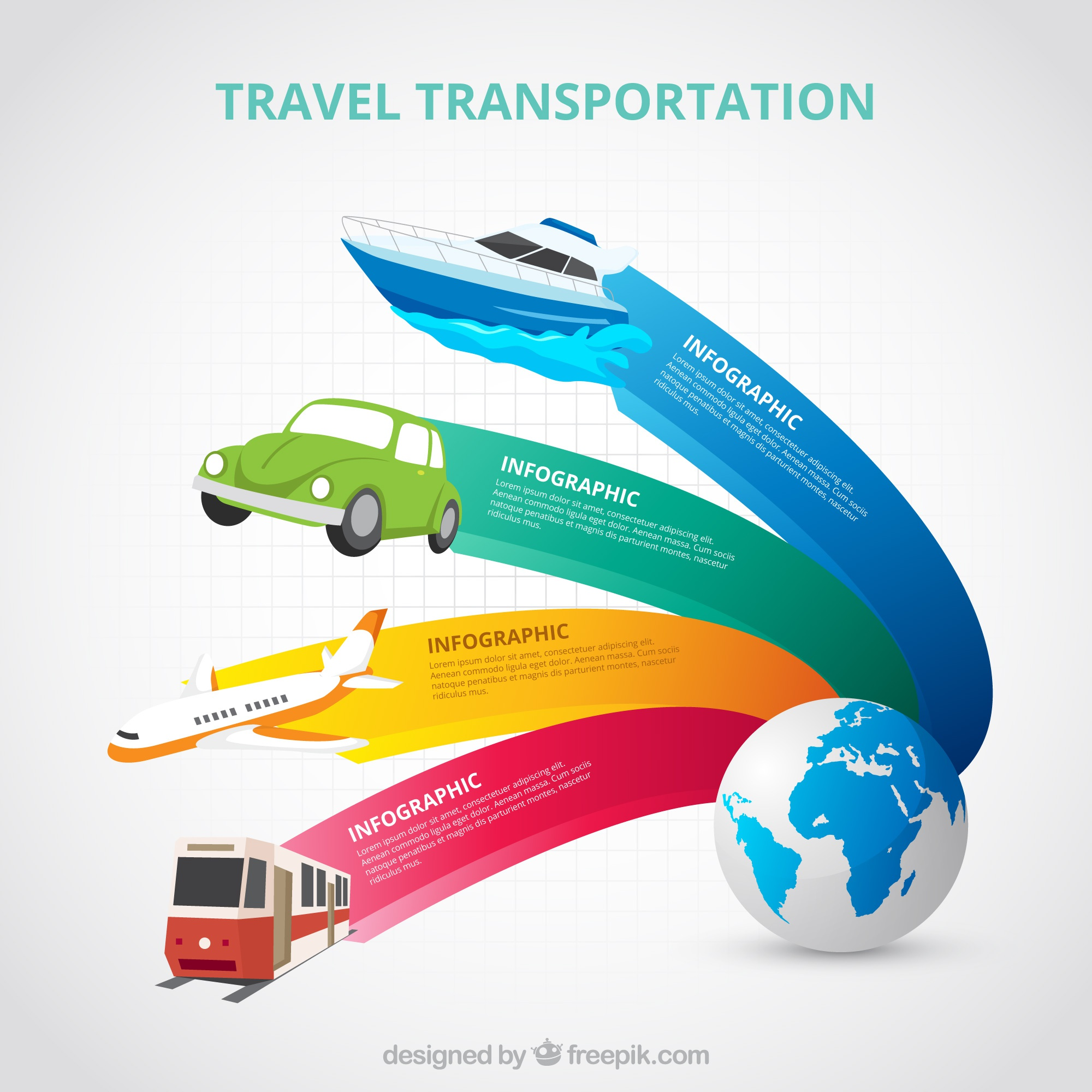 World and transport with colorful banners