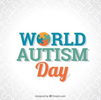 World autism day background with puzzle detail