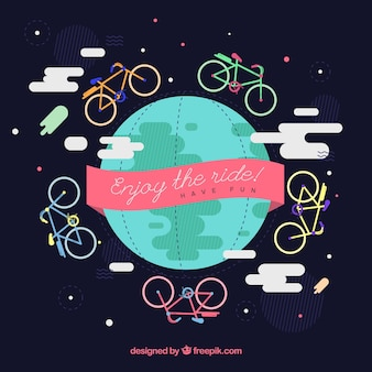 World background surrounded by bikes in flat design