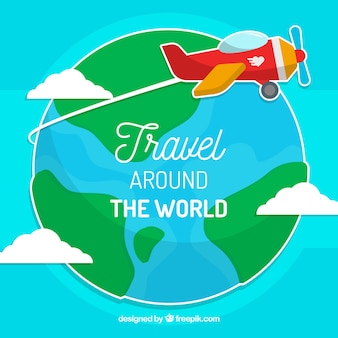 World background with light aircraft
