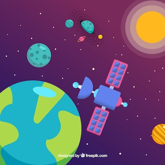 World background with satellite and planets