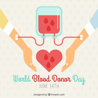 World blood donor day background with two arms and blood transfusion
