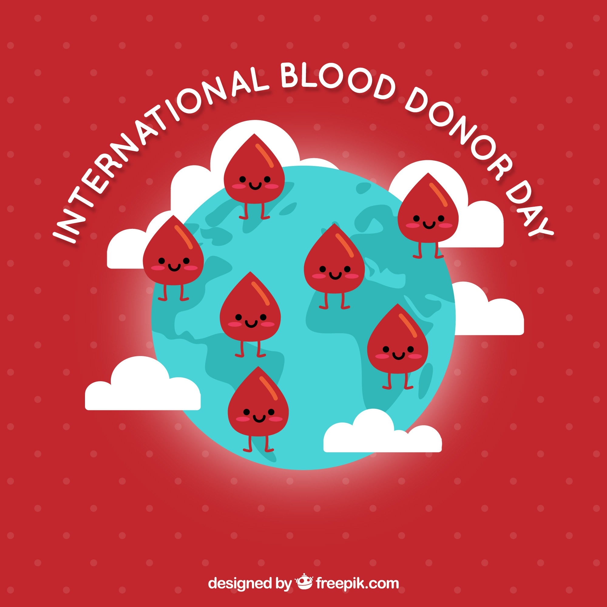 World blood donor day illustration with blood drops on globe
