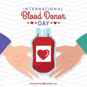 World blood donor day illustration with hands