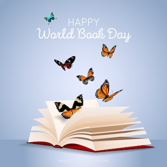 World book day background with butterflies in realistic style
