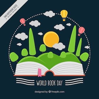 World book day background with natural landscape