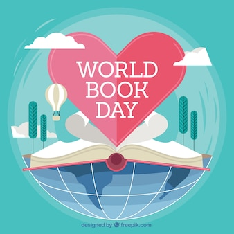 World book day background with open book and heart