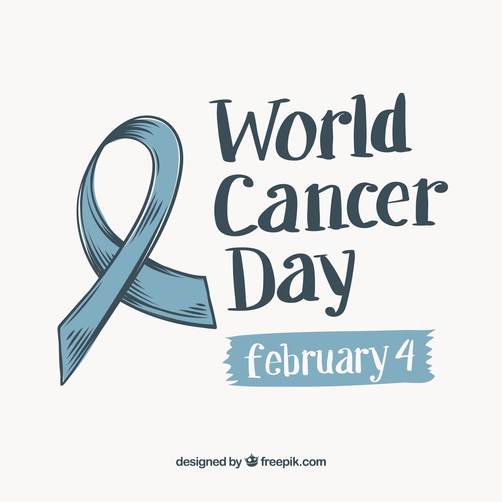 World cancer day background with hand drawn ribbon
