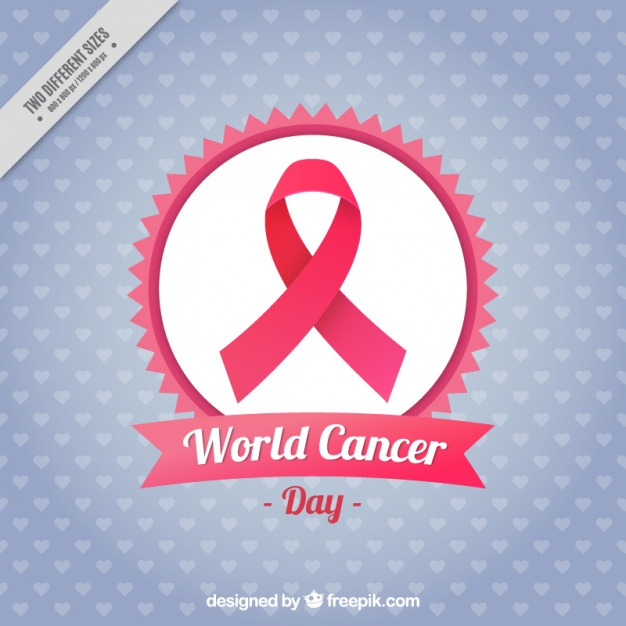 World cancer day background with pink ribbon and hearts