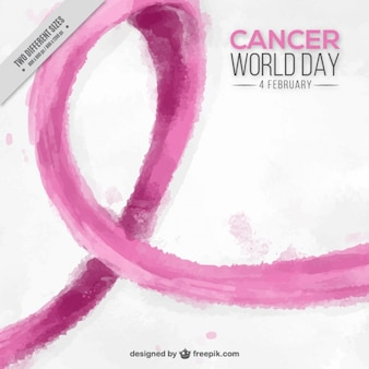 World cancer day background with pink ribbon in watercolor style