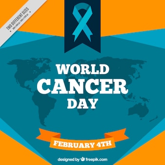 World cancer day background with ribbon and map