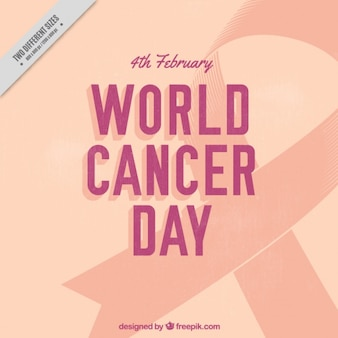 World cancer day background with ribbon