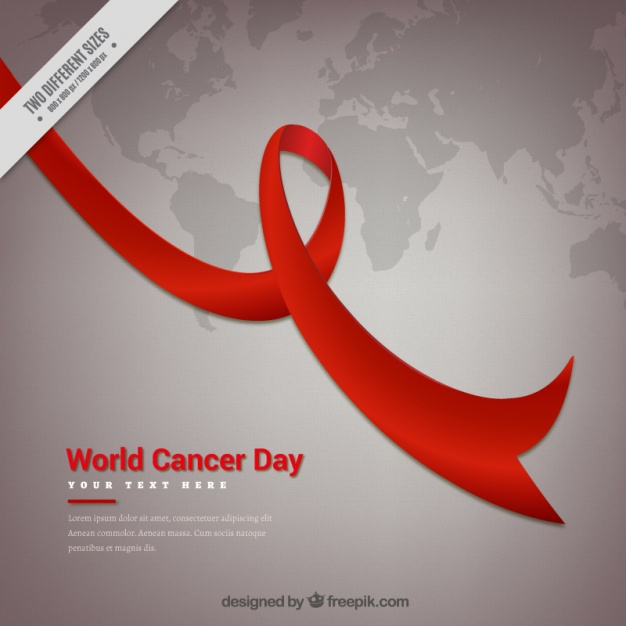World cancer day background with world map and ribbon