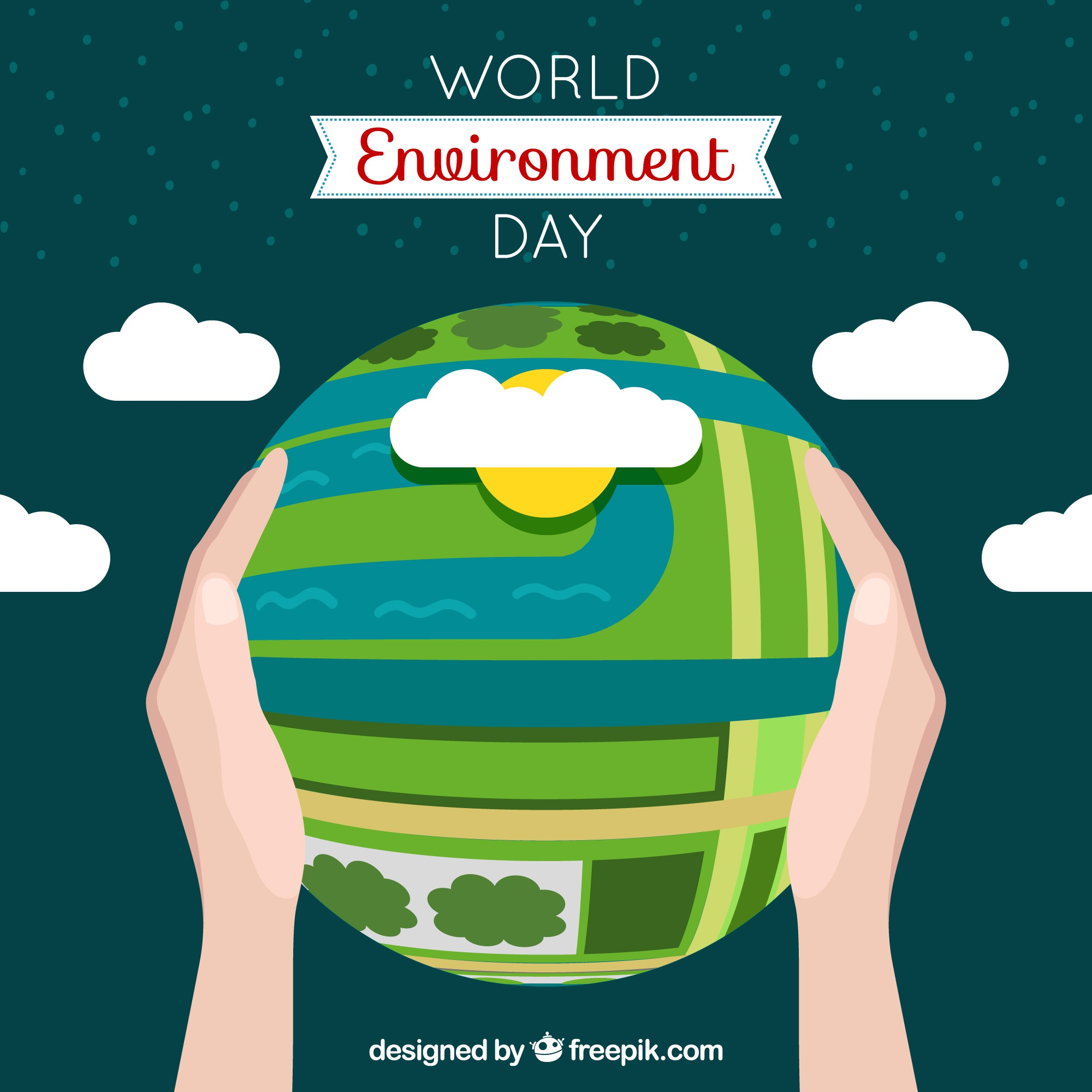 World environment day background with earth globe and clouds