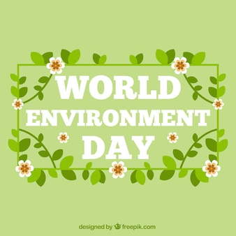 World environment day background with flowers and leaves