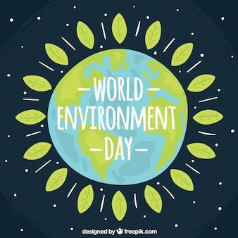 世界環境の日の背景と葉の花輪