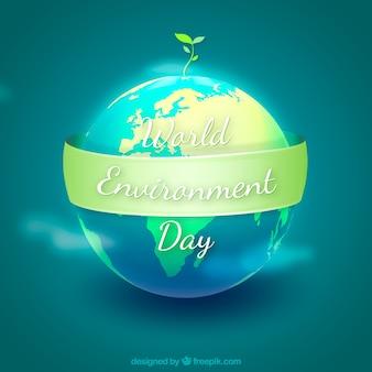 リボンのある世界環境の日の背景