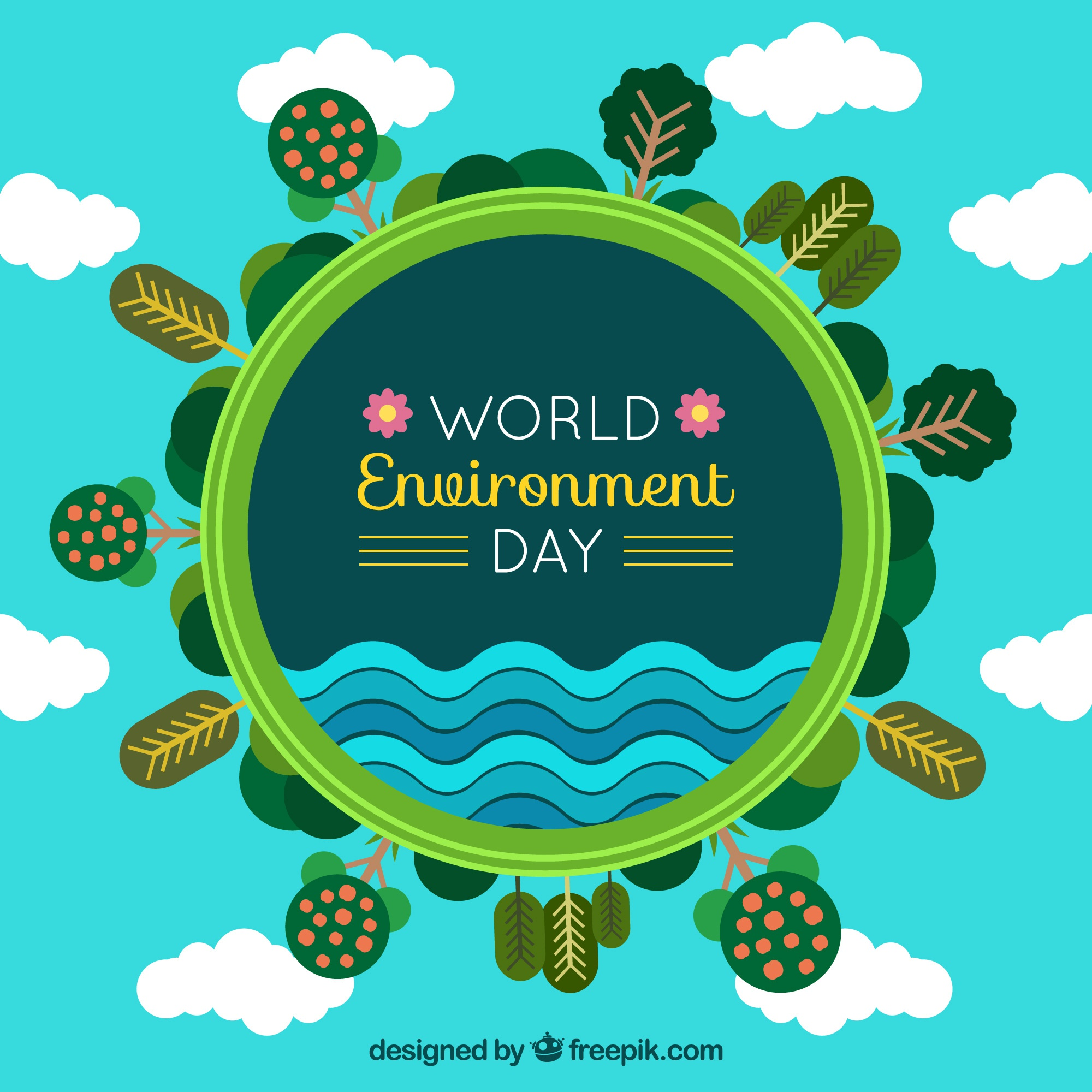 World environment day background with trees and clouds