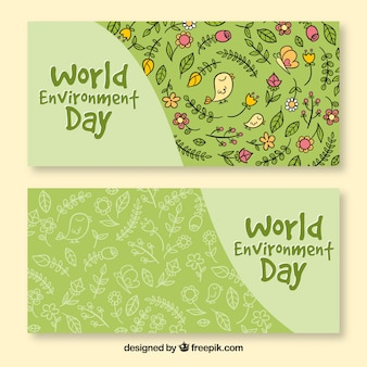 World environment day banner with flower pattern