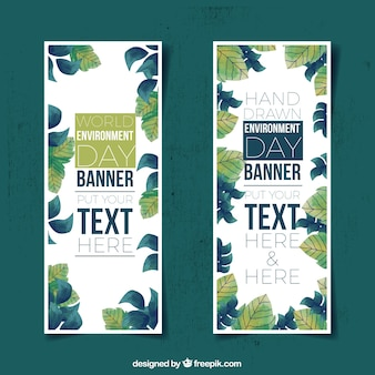 World environment day banners with hand-drawn leaves