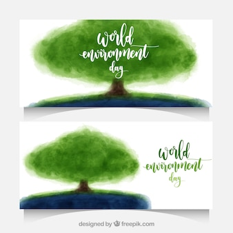 World environment day banners with watercolor trees