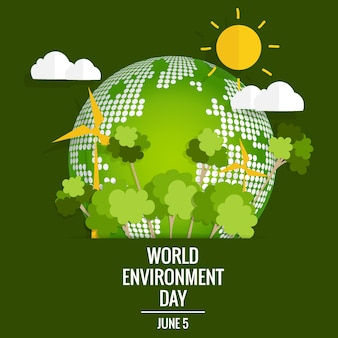 World environment day concept. Green Eco Earth. Vector illustration.