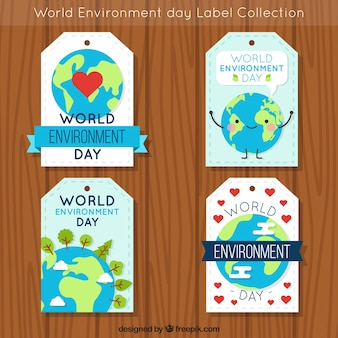 World environment day label collection with earth globe picture