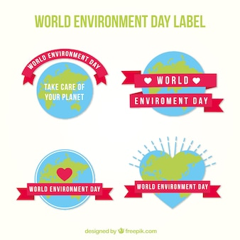 World environment day label collection with pink ribbons