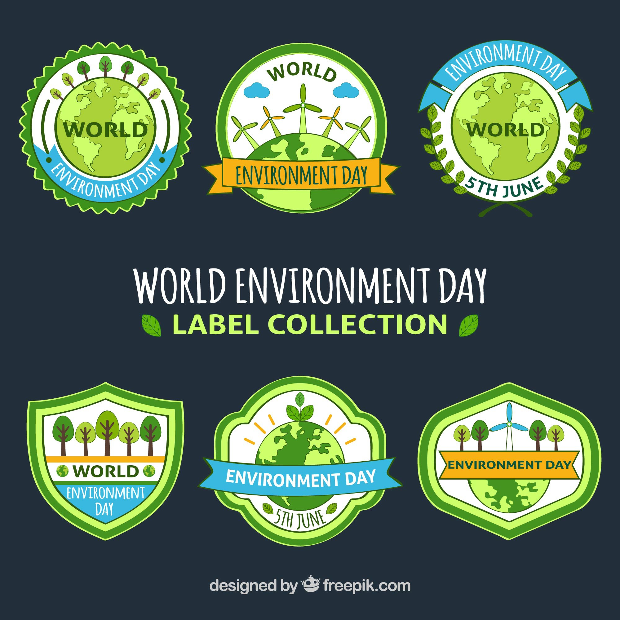World environment day label collection with ribbons