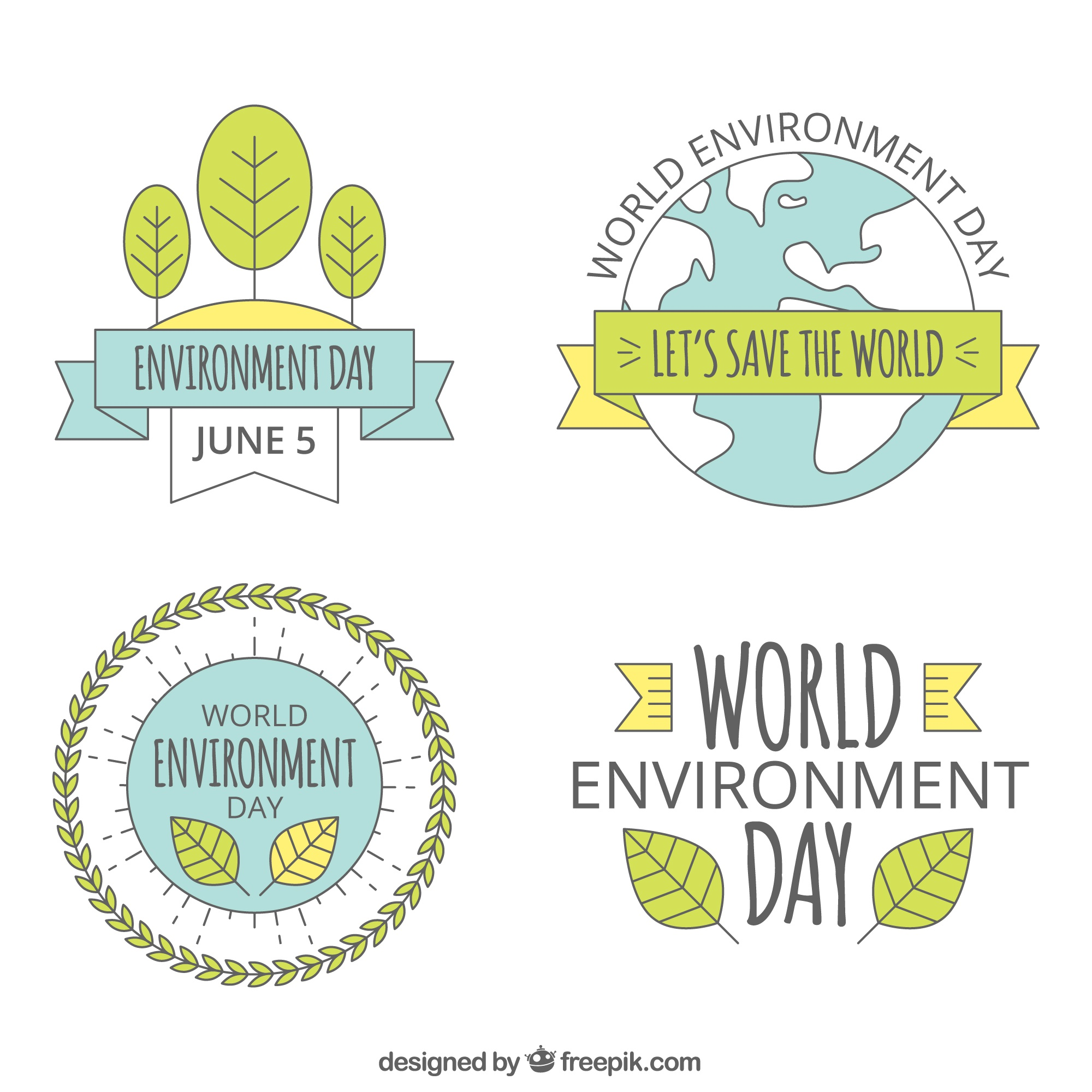 World environment day lable collection with ribbons