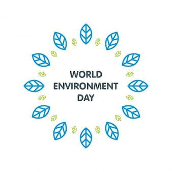 World environment day with blue leaves