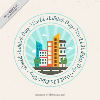 World habitat day background of badge with skyscrapers