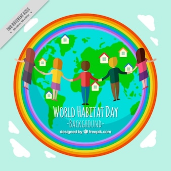 World habitat day background of world with rainbow