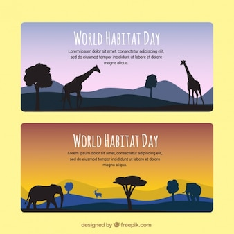World habitat day landscape banners with african animals