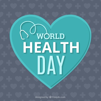 World health day background with a blue heart