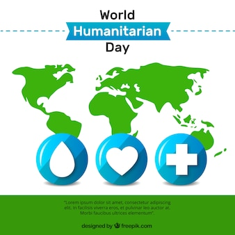 World humanitarian day background with green map