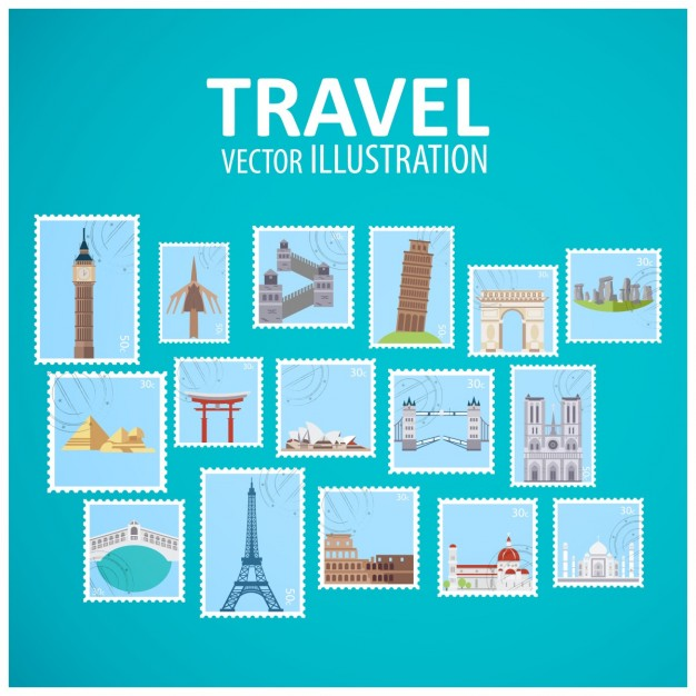 World landmark places stamps collection
