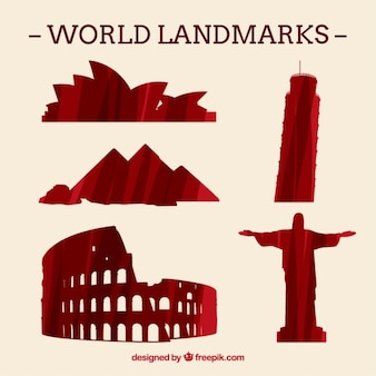 World landmarks silhouettes pack in red color