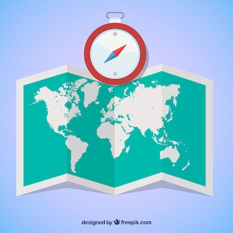 World map and compass in flat design