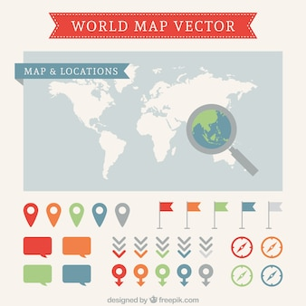 World map and pointers