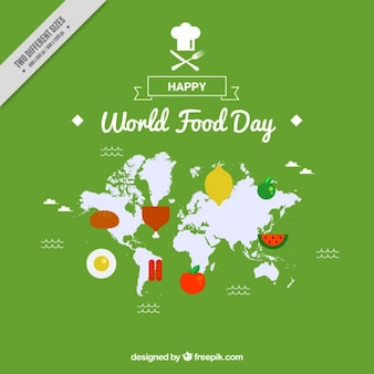 World map background with food