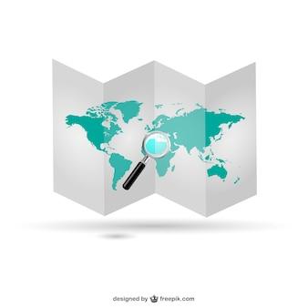 World map folded design